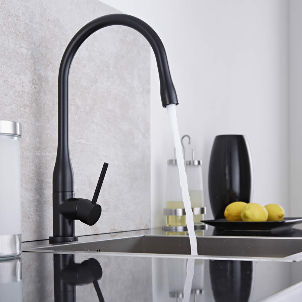 Schwenkbare Küchenarmatur in Schwarz
