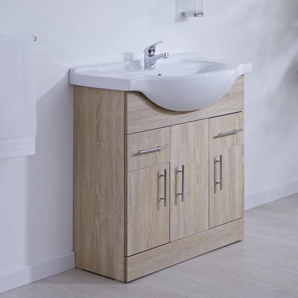 Waschtischunterschrank mit Aufsatzwaschbecken 750mm - Eiche mit drei Türen und zwei Schubladen - ohne Armatur