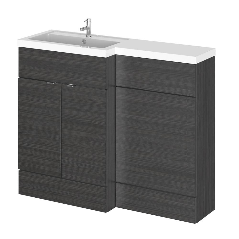 1100mm Waschtisch & WC Kombination - Hacienda Schwarz -Waschtischeinheit links