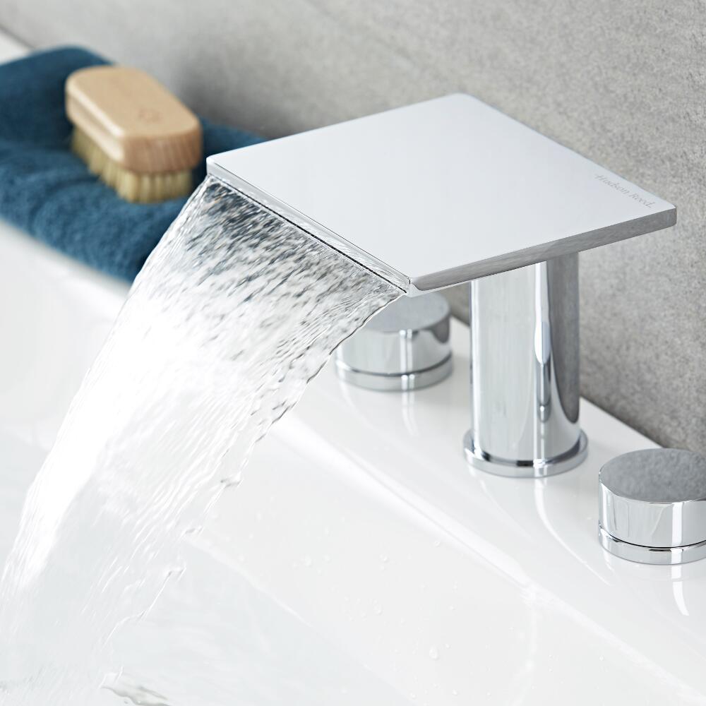 3-Loch Waschtischarmatur mit Wasserfallausguss - Blade
