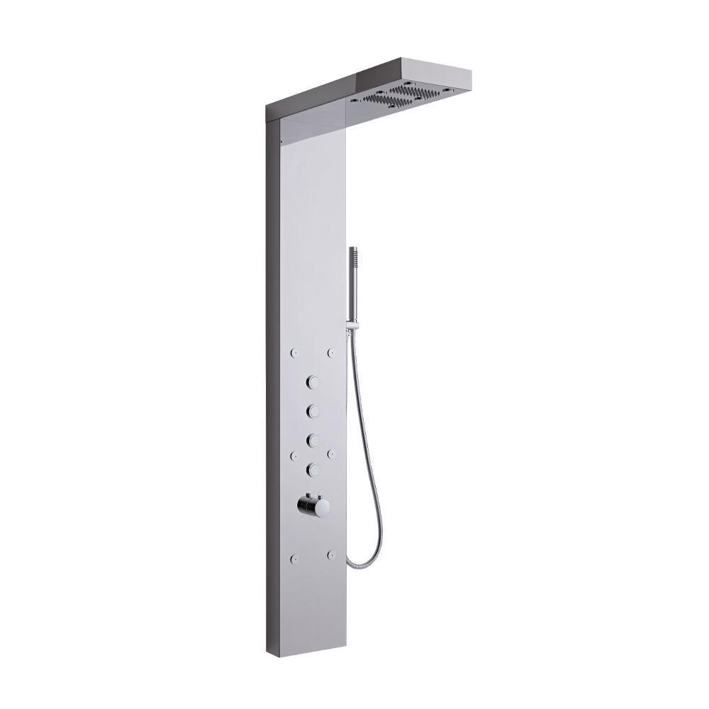 Duschpaneel mit Nebeldüsen und Push-Knöpfen in glänzendem Chrom - Grasmere