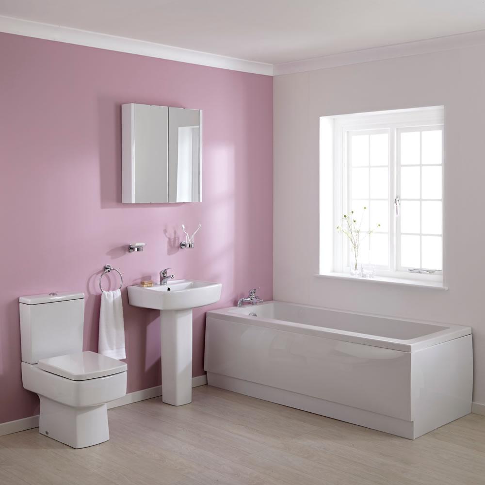 WC mit Spülkasten, Waschbecken mit Sockel und Einbaubadewanne im Set - Bliss