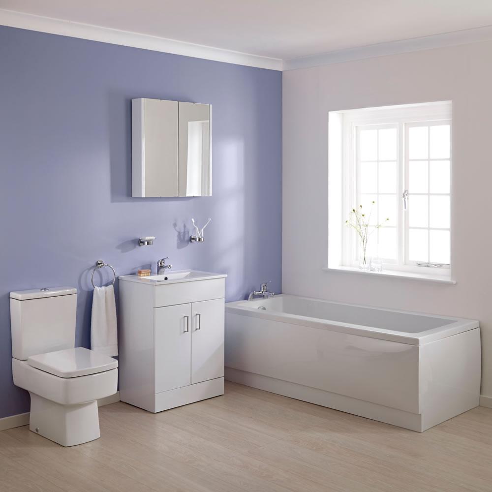 WC mit Spülkasten, Waschtisch mit Unterschrank und Einbaubadewanne im Set - Bliss