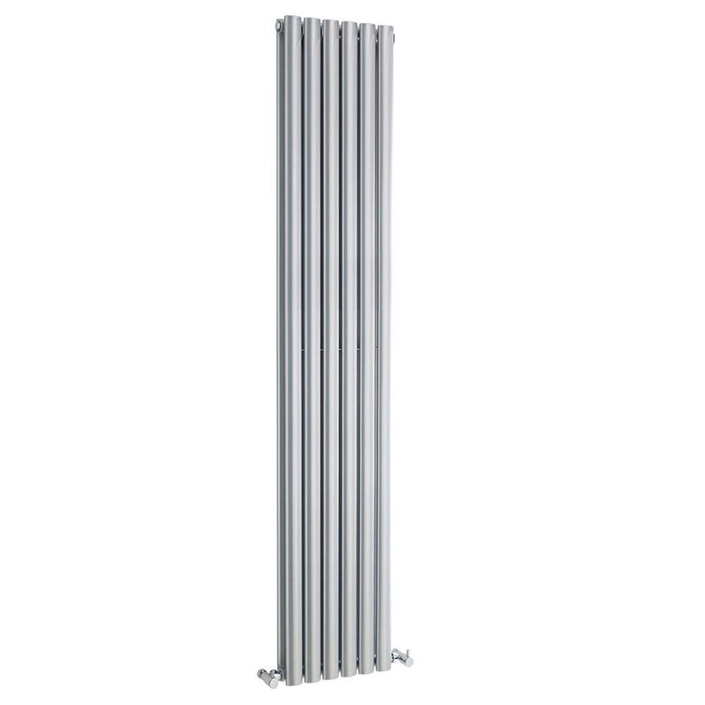 Design Heizkörper Vertikal Doppellagig Silber 1800mm x 354mm 1385W - Revive
