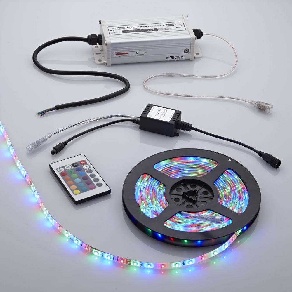 Biard 5m 3528 RGB 300 LED Strip Set, farbwechselnd, inkl. Netzteil& Fernbedienung, wasserdicht