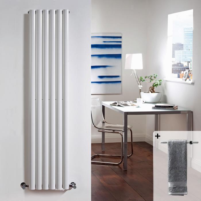 Design Heizkörper Vertikal Einlagig Weiß 1600mm x 354mm 841W Inkl. Handtuchstange - Revive
