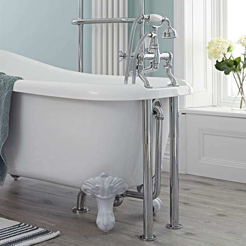 Ab- und Überlaufgarnitur, inkl. Siphon und Standbeine für Badewannenarmaturen