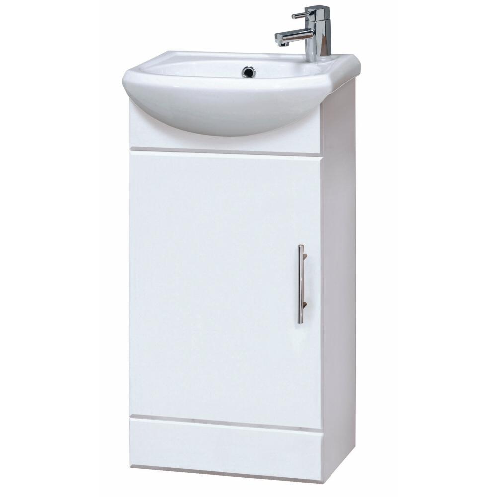 Waschtischunterschrank mit Waschbecken 400mm Hochglanzweiß - ohne Armatur