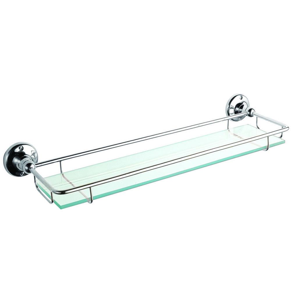 Badablage aus Glas und mit Chromgestell