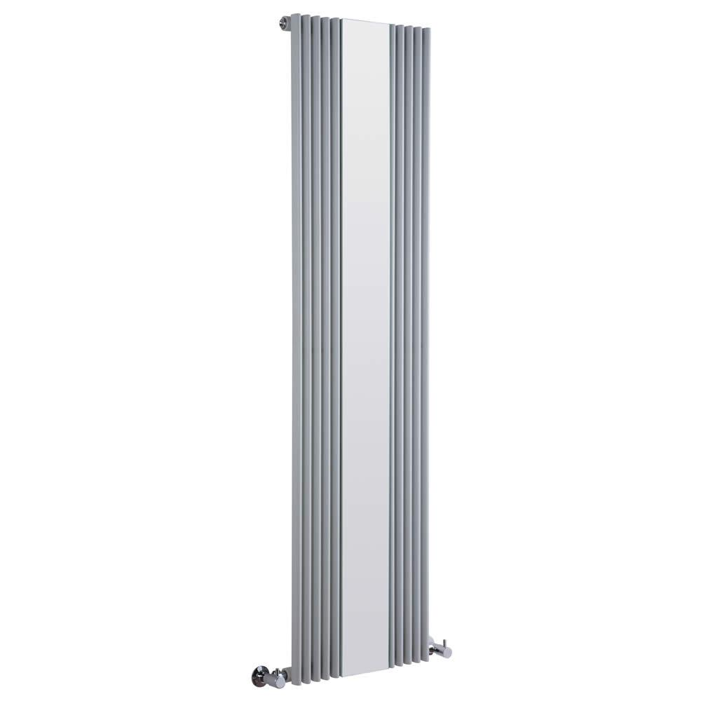 Design Heizkörper Vertikal Einlagig mit Spiegel Silber 1600mm x 420mm 840W - Keida
