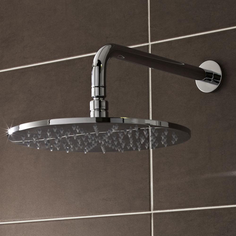 LED-Duschkopf 200mm Rund mit Duscharm 345 mm zur Wandmontage