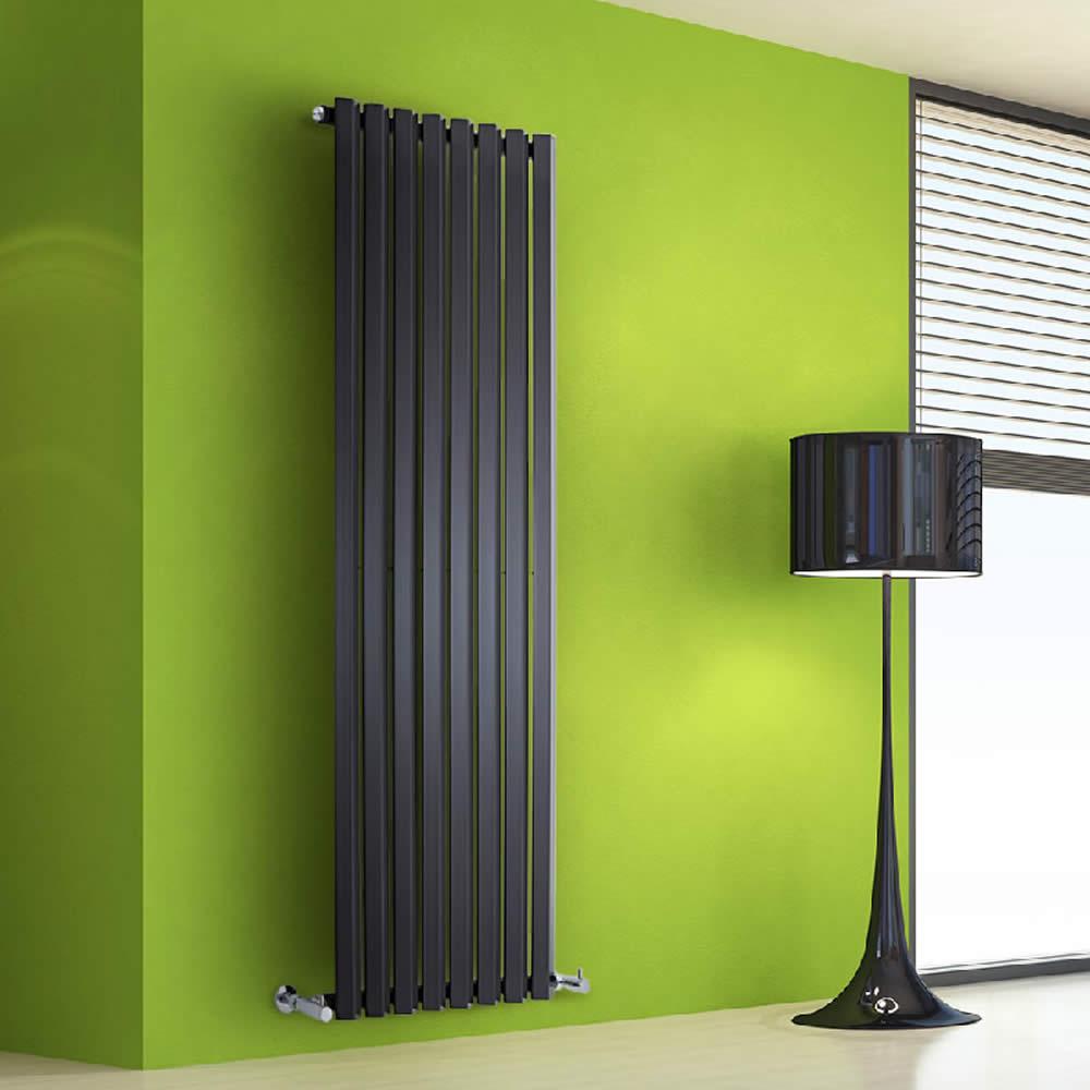 Design Heizkörper Vertikal Einlagig Schwarz 1600mm x 560mm 1261W - Vital
