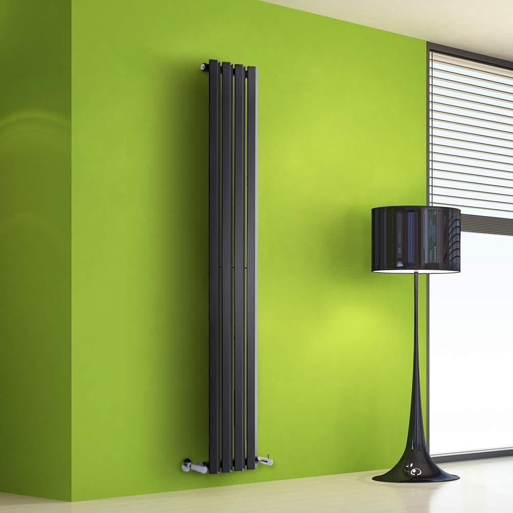 Design Heizkörper Vertikal Einlagig Schwarz 1600mm x 280mm 630W - Vital