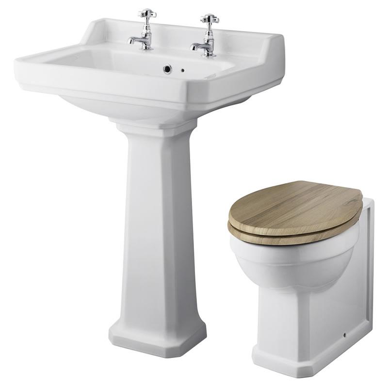 Badausstattung Richmond mit WC & Keramikwaschbecken Groß und wählbarem Sitz