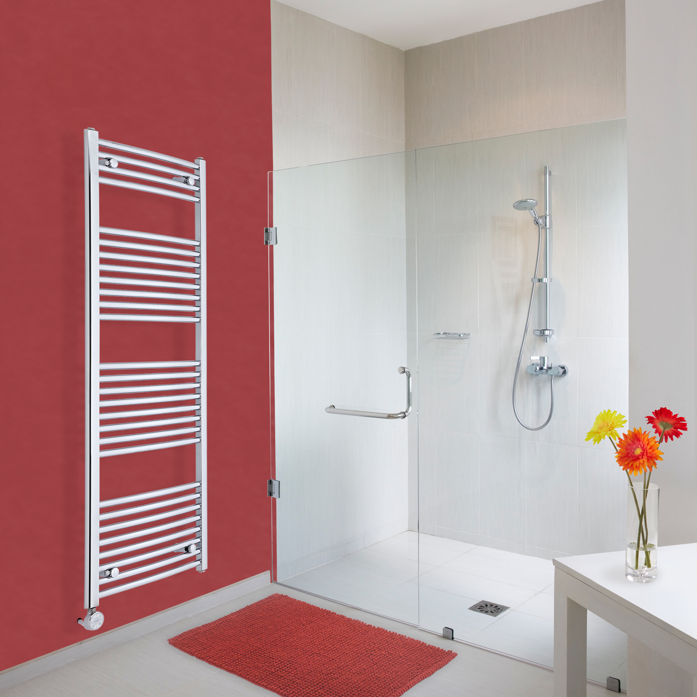Elektrischer Handtuchheizkörper Gebogen Chrom 1500mm x 500mm inkl. ein 600W Heizelement - Etna