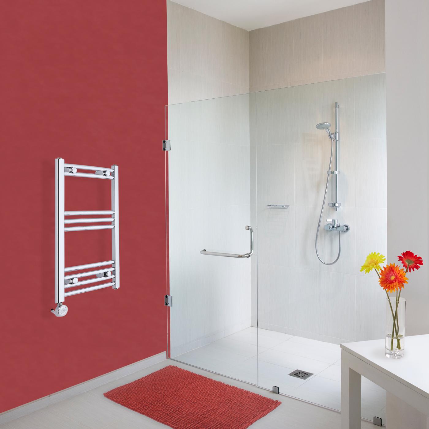 Elektrischer Handtuchheizkörper Gebogen Chrom 700mm x 400mm inkl. ein 400W Heizelement - Etna