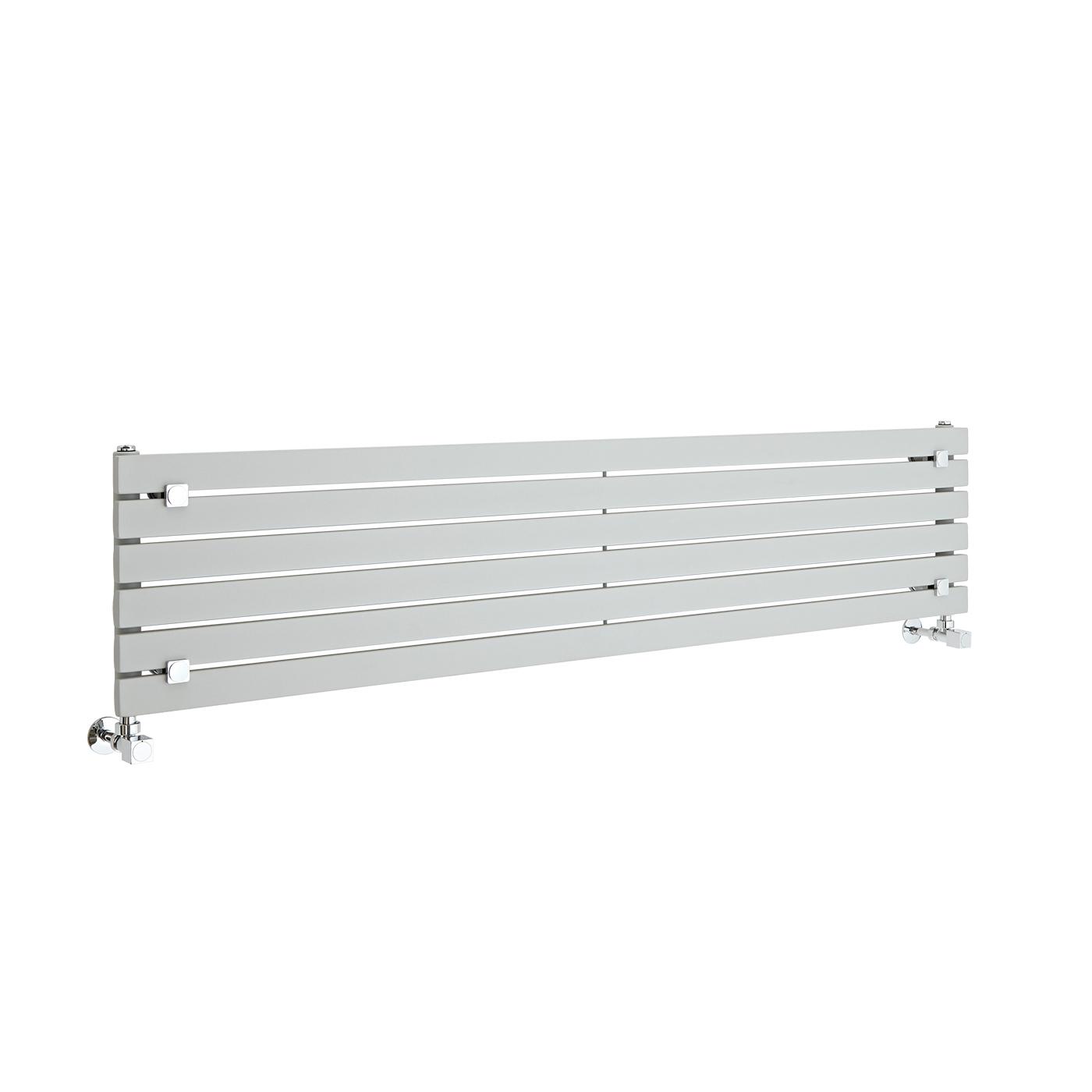 Design Heizkörper Horizontal Einlagig Silber 354mm x 1600mm 773W - Sloane