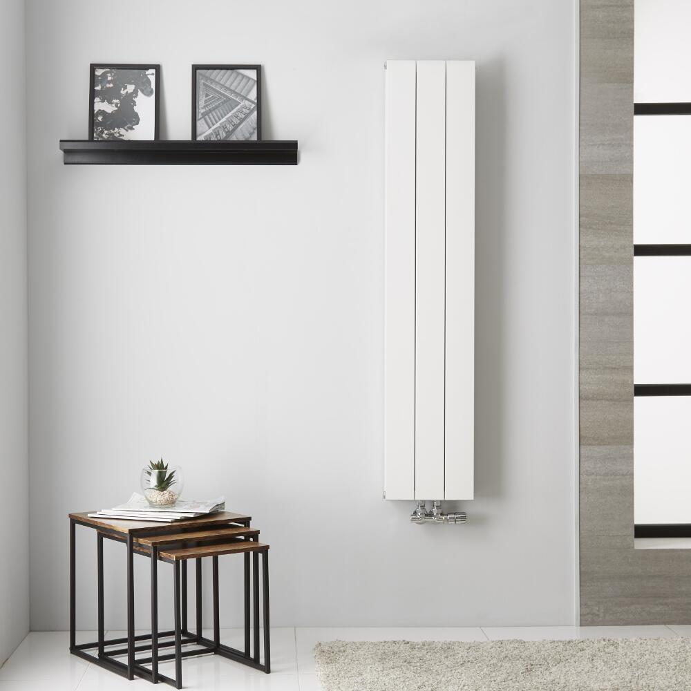 Design Heizkörper Aluminium Doppellagig Vertikal Weiß 1400mm x 280mm - Kett