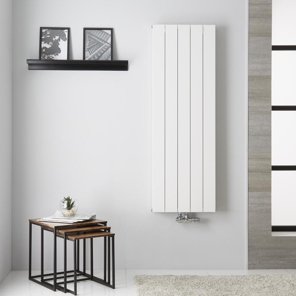 Design Heizkörper Aluminium Doppellagig Vertikal Weiß 1400mm x 470mm - Kett