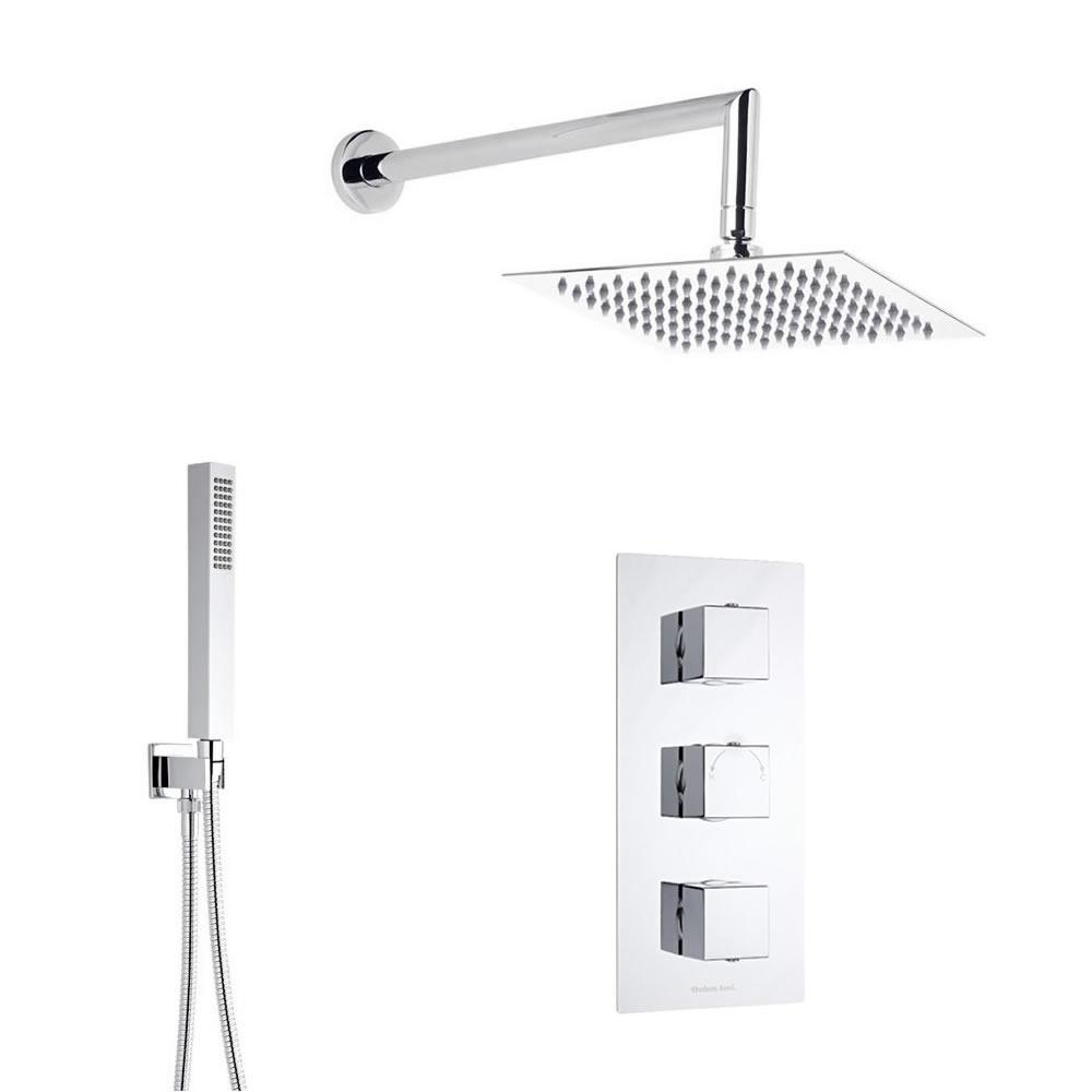 Duschsystem inkl 300x300mm Kopfbrause, Handbrause & Triple Duscharmatur - Kubix