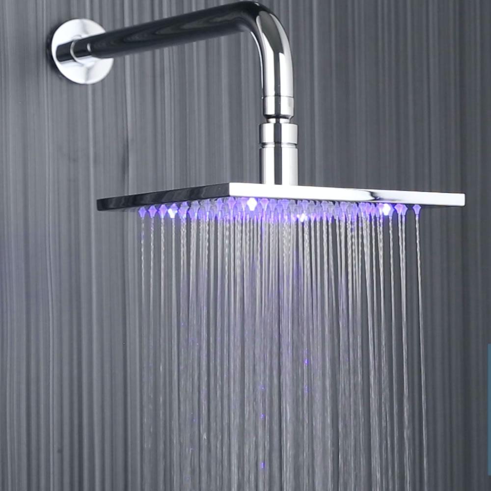 LED-Duschkopf Quadratisch 200 mm Verchromt mit Duscharm zur Wandmontage
