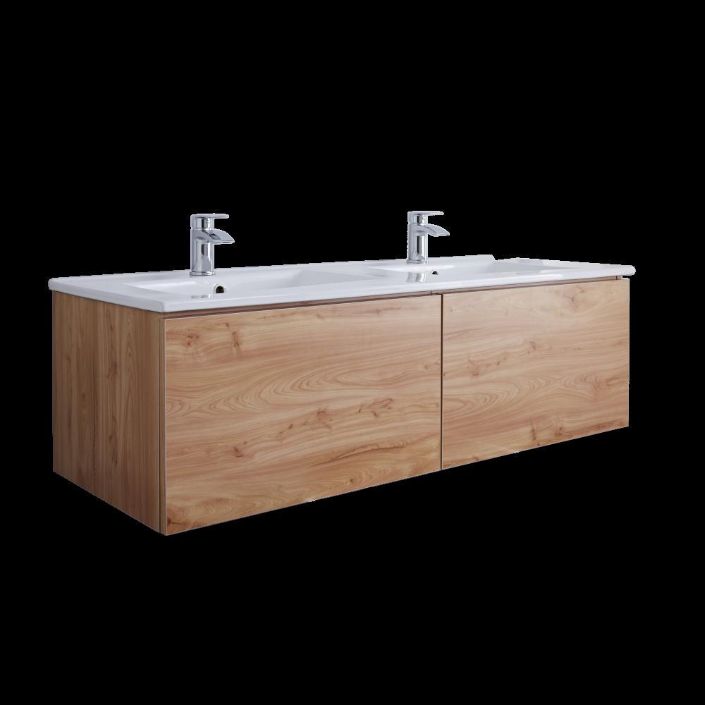 Hudson Reed Newington - 1200mm Moderner Badschrank mit Doppelbecken - Goldene Eiche