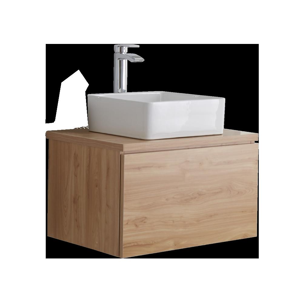 Hudson Reed Newington - 600mm Moderner Badschrank mit rechteckigem Aufsatzbecken - Goldene Eiche