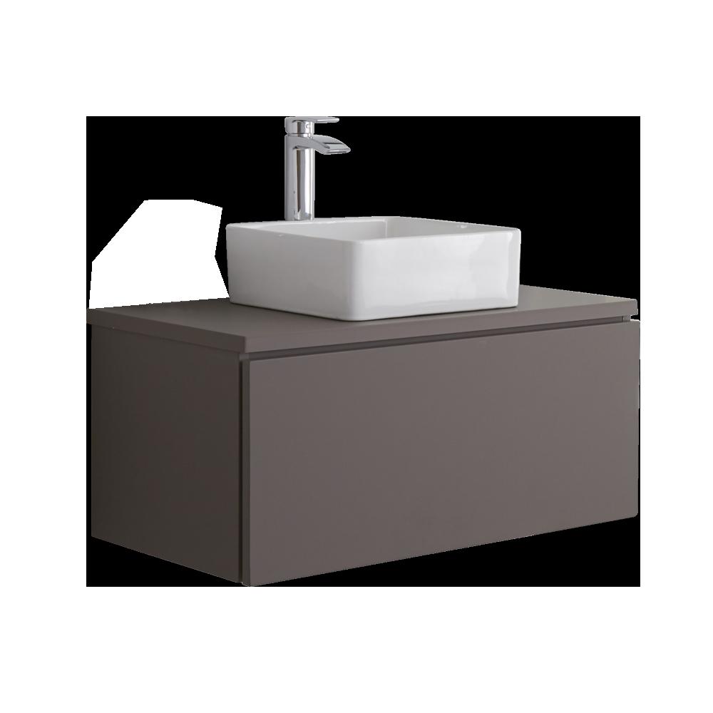 Hudson Reed Newington - 800mm Moderner Badschrank mit rechteckigem Aufsatzbecken - Mattgrau
