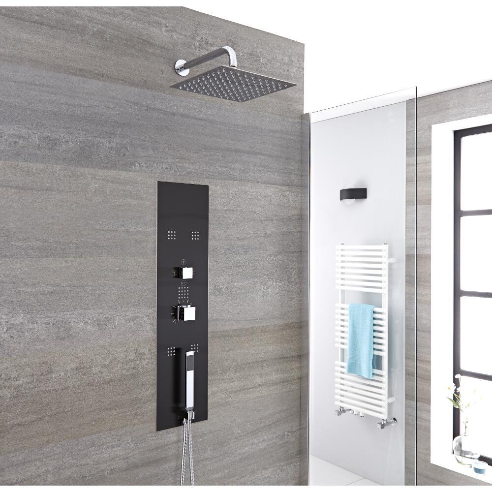 Unterputz Duschpaneel in dunklem Grau mit 3 Funktionen & quadratischer Duschkopf 200mm