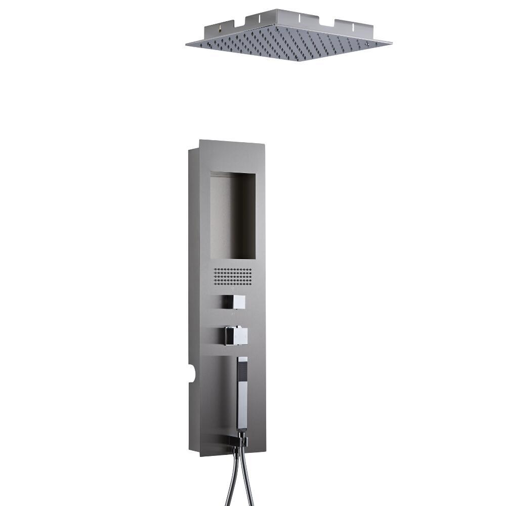 Unterputz Duschpaneel gebürsteter Edelstahl inkl. 400mm Unterputzduschkopf Quadratisch