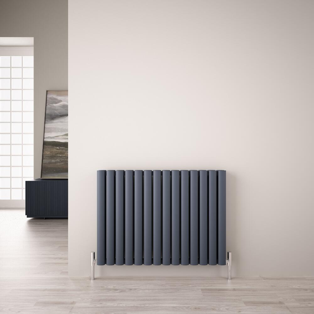 Design Heizkörper Aluminium Doppellagig Horizontal Anthrazit 600mm x 830mm 1609W - Revive Air