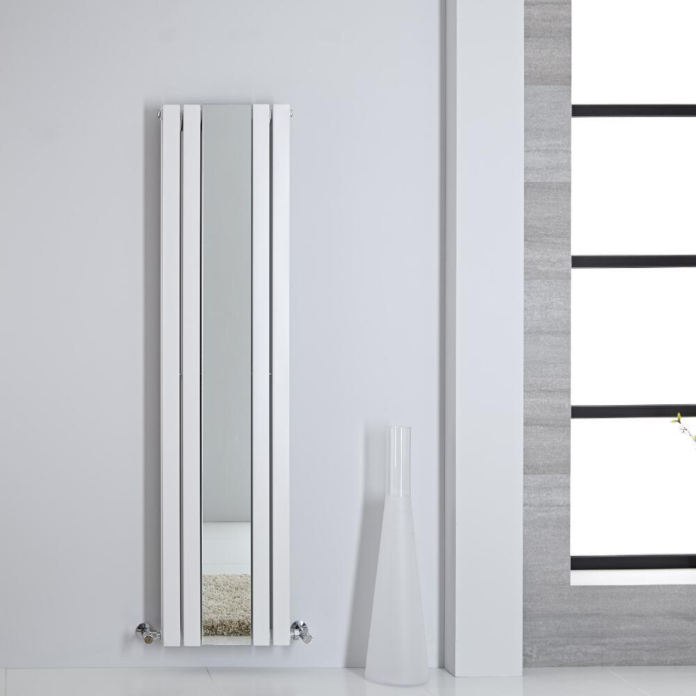 Design Heizkörper mit Spiegel Doppellagig Vertikal Weiß 1600mm x 385mm 1212W - Sloane