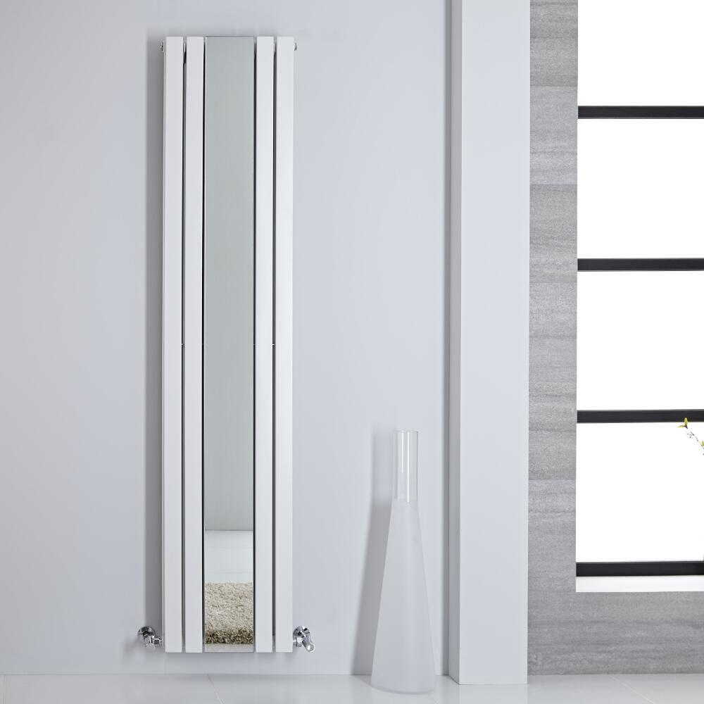 Design Heizkörper mit Spiegel Doppellagig Vertikal Weiß 1800mm x 385mm 1344W - Sloane