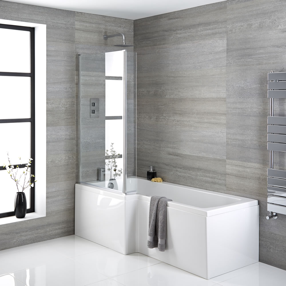 Badewanne linksbündig mit Badewannenaufsatz, inkl. Eckstück