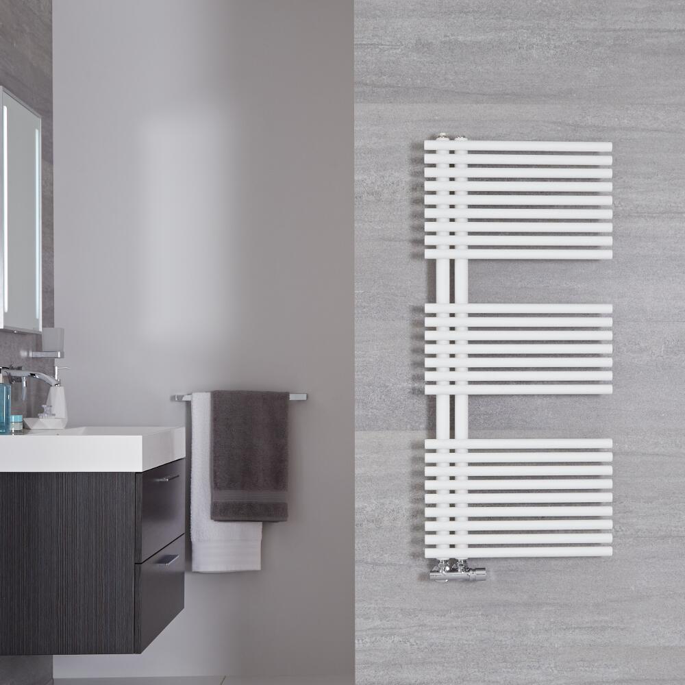 Handtuchheizkörper Mittelanschluss Mineral Weiß 734W 1120mm x 500mm - Iseo