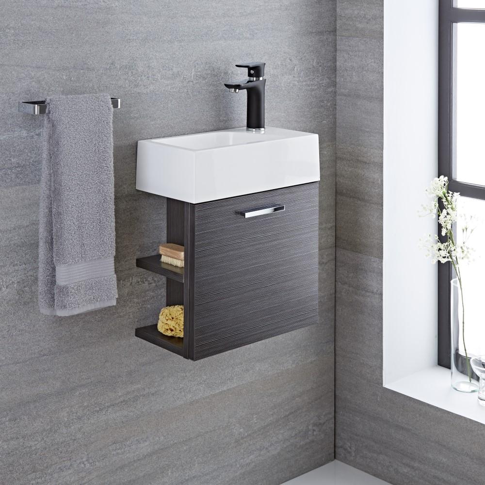 waschtisch f r g ste wc mit unterschrank grau 400mm offene regale langley. Black Bedroom Furniture Sets. Home Design Ideas