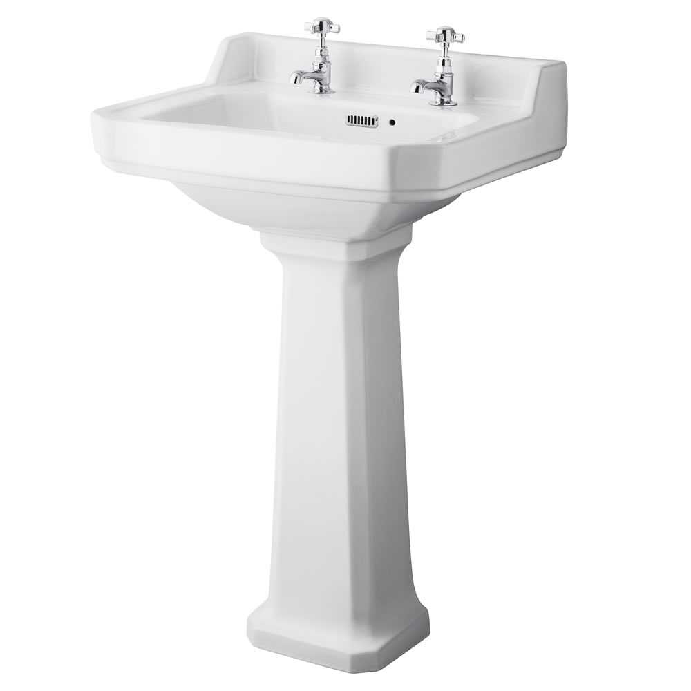 Badausstattung Richmond -WC & Keramikwaschbecken für 2-Loch Armatur und wählbarem Sitz