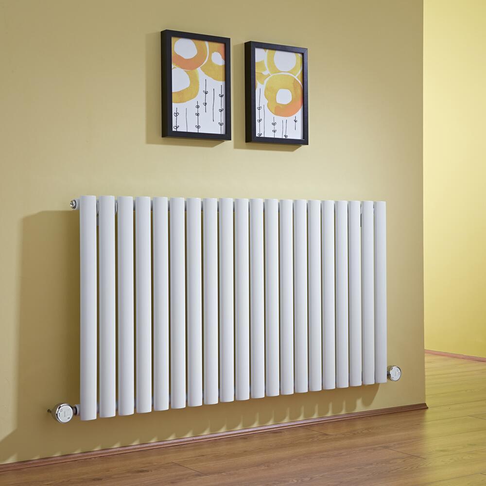 Design Heizkörper Elektrisch Horizontal Einlagig Weiß 635mm x 1180mm inkl. 2x 600W Heizelemente - Revive