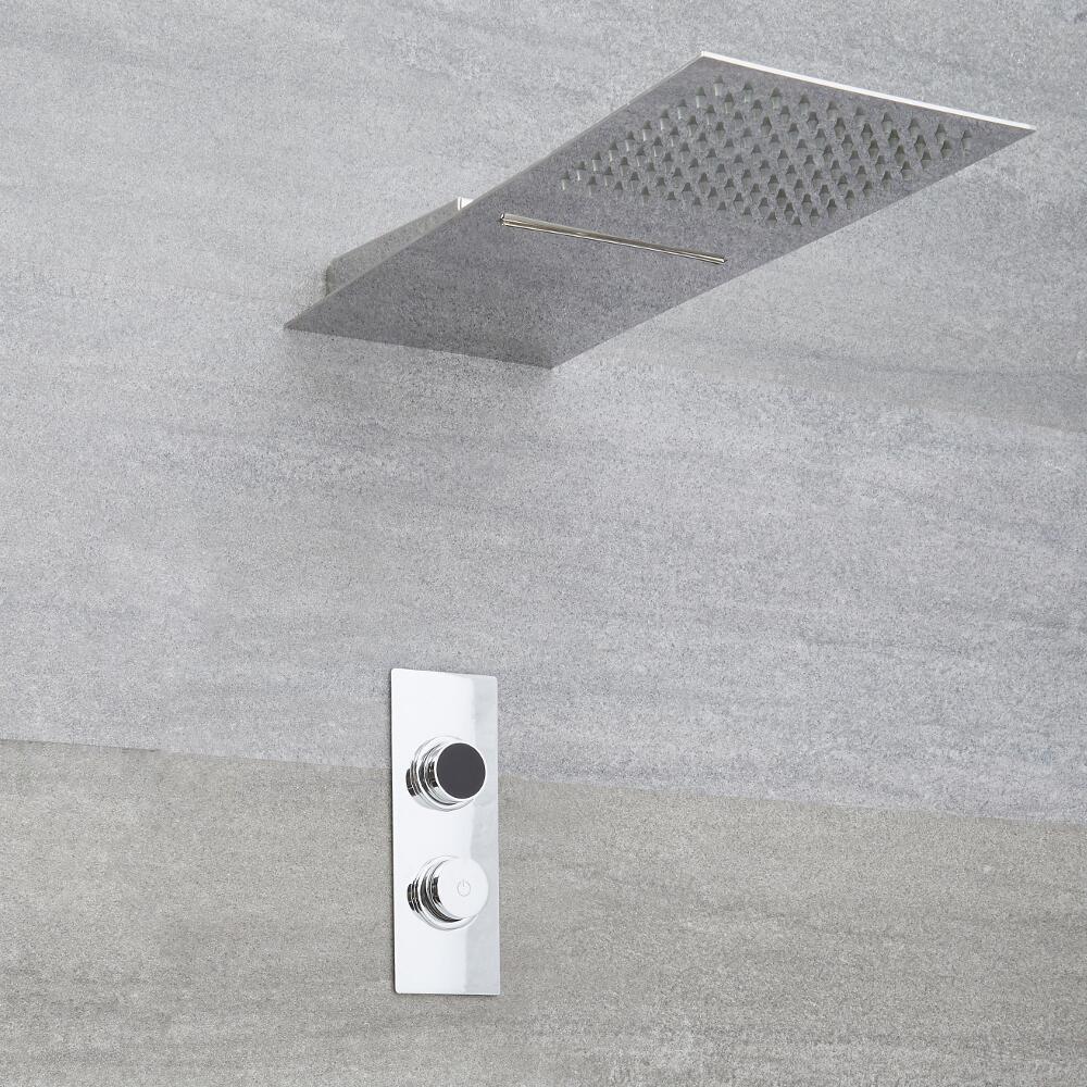 Digitale Dusche für zwei Funktionen, inkl. Handbrause und Duschkopf mit Wasserschwallausguss - Narus