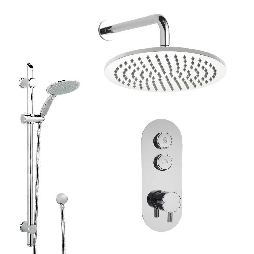 Duscharmatur mit Drucktasten 2 Funktionen, inkl. Duschstange und 300mm Duschkopf Wandmontage- Idro