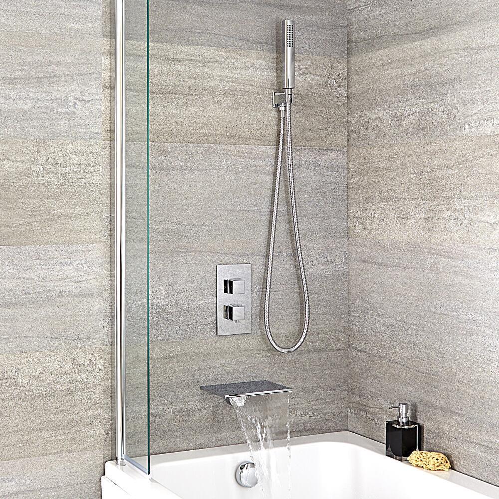Badewannenarmatur mit Wasserfallauslauf und eckiger Handbrause - Arvo