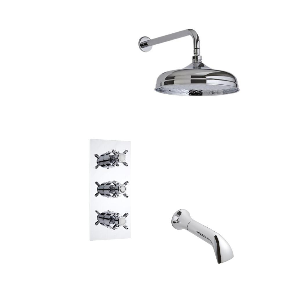 Triple Unterputzarmatur Nostalgie inkl. Wanneneinlauf & 150 mm Duschkopf - Vico