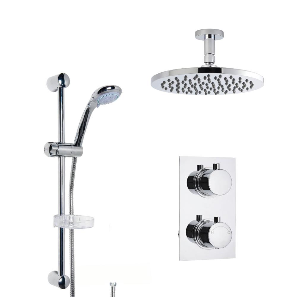 Moderne Twin Armatur mit Funktionswechsler inkl. Duschstange & Duschkopf Deckenmontage