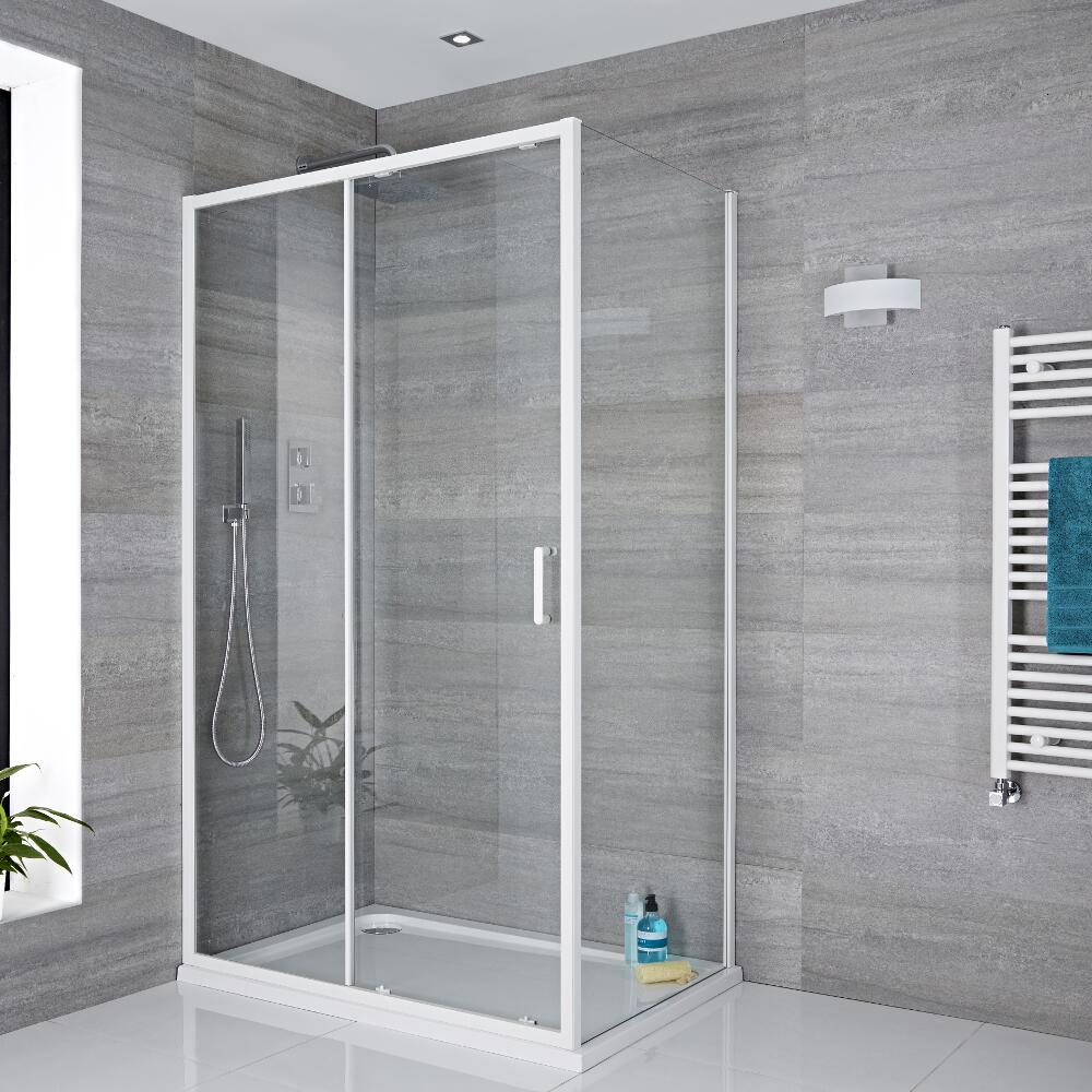 Schiebetür 1100mm und 800mm Seitenpaneel in Weiß, inkl. weißer Duschtasse  - Lux