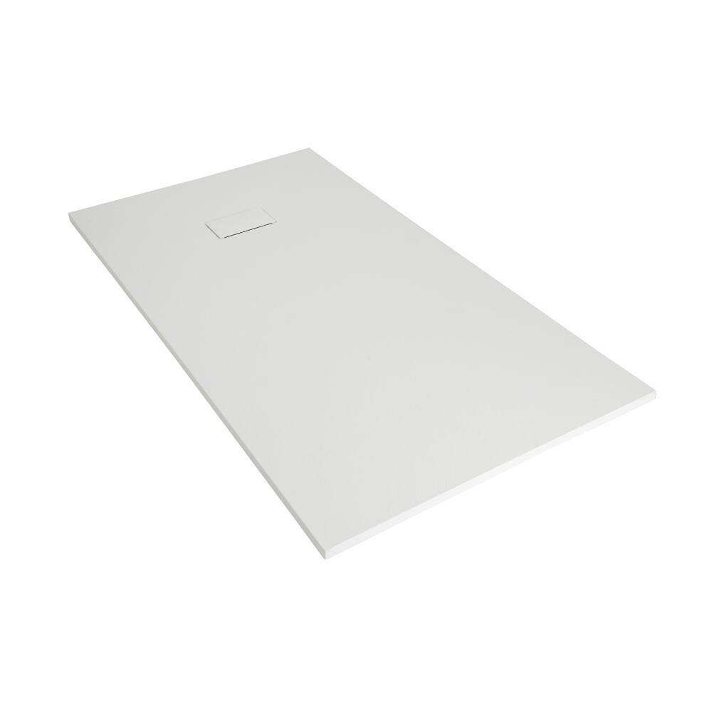 Hudson Reed matt-weiß Stein-Optik rechteckige Duschwanne 1500x800mm