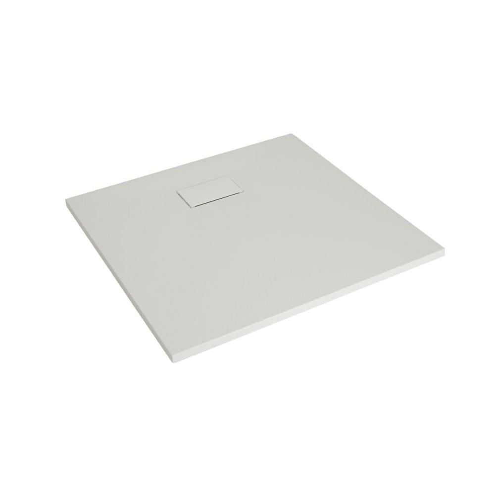Hudson Reed matt-weiß Stein-Optik quadratische Duschwanne 900mm