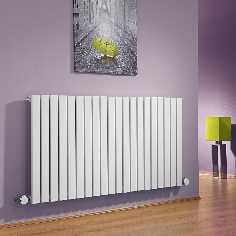 Design Heizkörper Elektrisch Horizontal Einlagig Weiß 635mm x 1180mm inkl. 2x 600W Heizelemente - Sloane