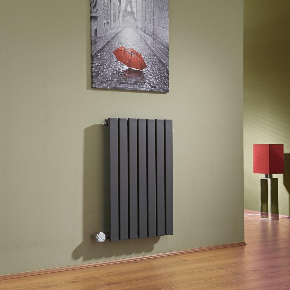 Design Heizkörper Elektrisch Horizontal Einlagig Anthrazit 635mm x 420mm inkl. ein 400W Heizelement - Sloane