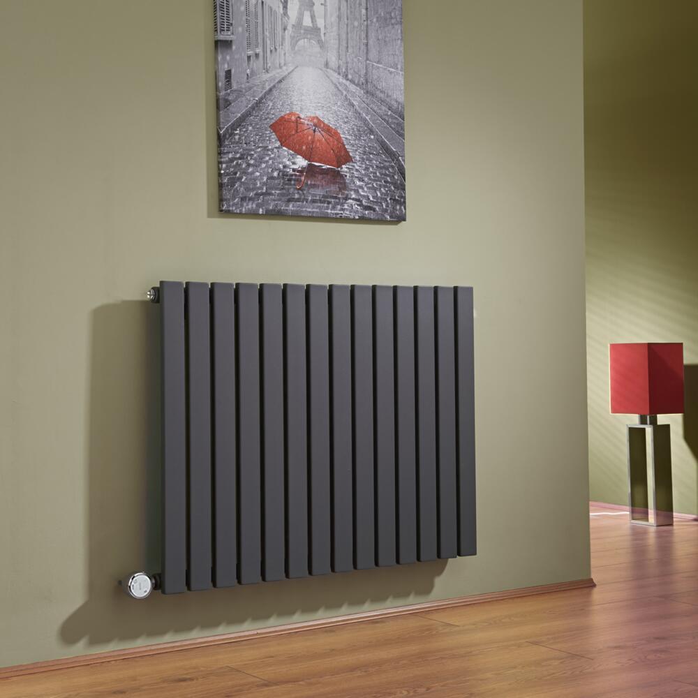 Design Heizkörper Elektrisch Horizontal Einlagig Anthrazit 635mm x 834mm inkl. ein 1000W Heizelement - Sloane