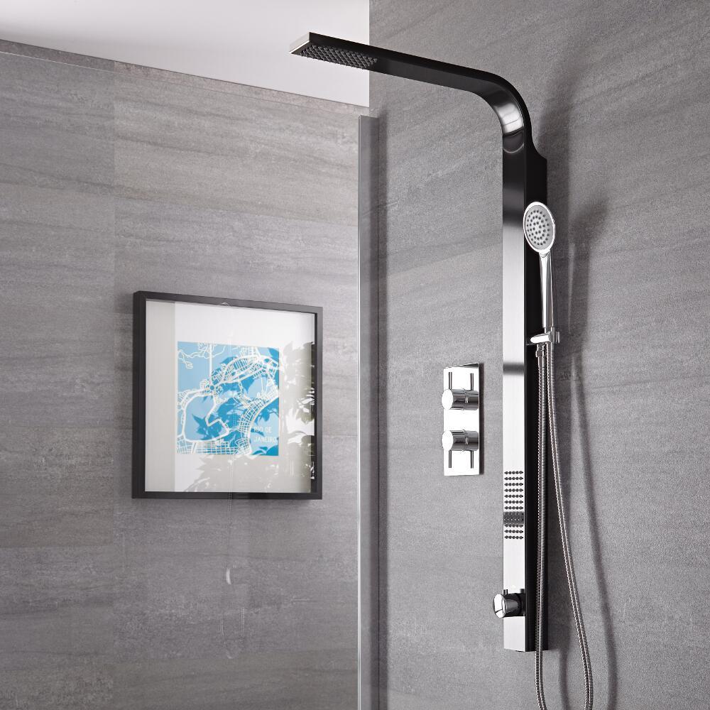 Duschsäule ohne Mischer in Schwarz Rohranschluss oben - Harding